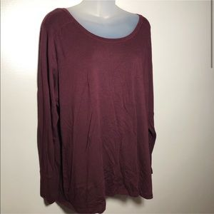 2X A.N.A. Wine Red Burgundy Long Sleeve Tunic Plus
